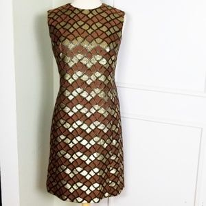 Vintage 60s Mod Shift Dress Metallic